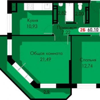 ЖК Новый город (Астрахань) – планировка №2
