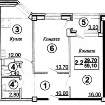 ЖК Мирный (Астрахань) – планировка №3