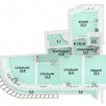 ЖК Адмирал (Астрахань) – планировка №1