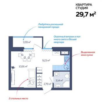 ЖК Сердце Каспия (Астрахань) – планировка №1