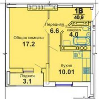 ЖК Лазурный (Астрахань) – планировка №1
