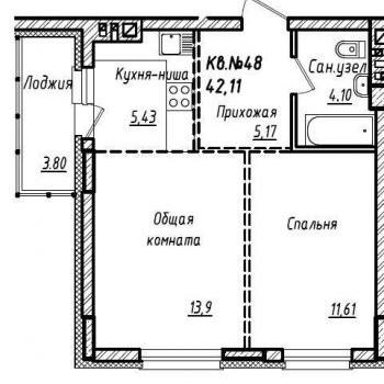 ЖК Южный (Барнаул) – планировка №1