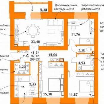 ЖК Атмосфера на Дуки (Брянск) – планировка №3