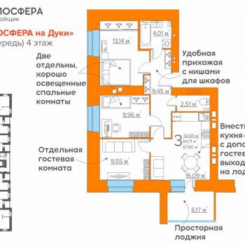 ЖК Атмосфера на Дуки (Брянск) – планировка №1