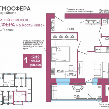 ЖК Атмосфера на Костычева (Брянск) – планировка №33