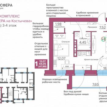 ЖК Атмосфера на Костычева (Брянск) – планировка №18