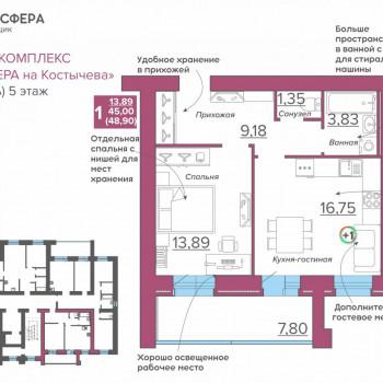 ЖК Атмосфера на Костычева (Брянск) – планировка №15