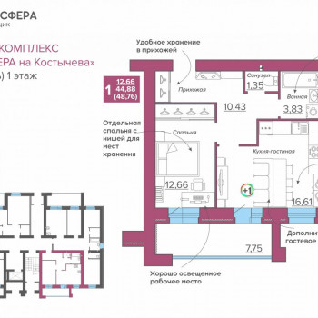 ЖК Атмосфера на Костычева (Брянск) – планировка №13