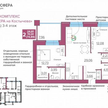 ЖК Атмосфера на Костычева (Брянск) – планировка №8