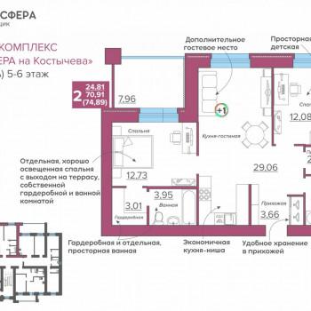 ЖК Атмосфера на Костычева (Брянск) – планировка №7