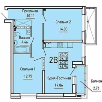 ЖК Облака (Екатеринбург) – планировка №4