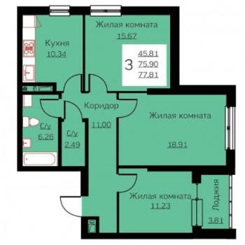 ЖК Ольховский Парк (Екатеринбург) – планировка №3