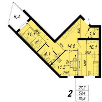 ЖК Уральский (Екатеринбург) – планировка №8