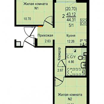 ЖК Меридиан (Екатеринбург) – планировка №16