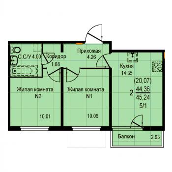 ЖК Меридиан (Екатеринбург) – планировка №14