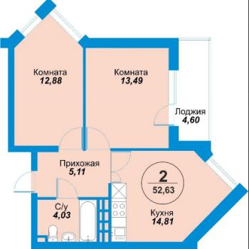 ЖК Альпы (Екатеринбург) – планировка №1