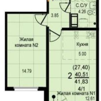 ЖК Восход (Екатеринбург) – планировка №1