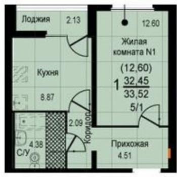 ЖК Восход (Екатеринбург) – планировка №2