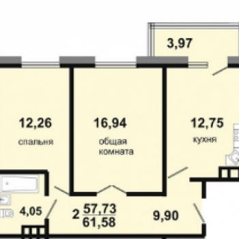 ЖК Адмиралъ (Иркутск) – планировка №3