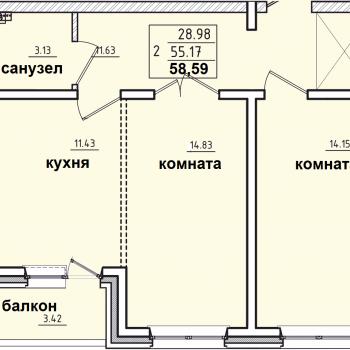 ЖК Корица (Иркутск) – планировка №7
