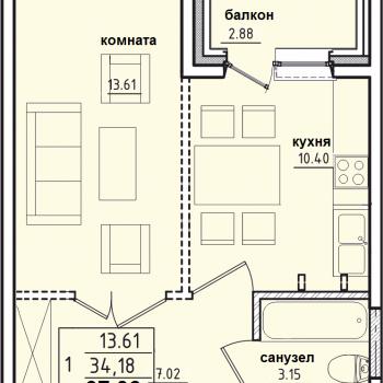 ЖК Корица (Иркутск) – планировка №5