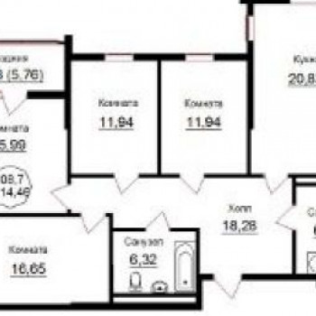 ЖК Паркгартен (Калининград) – планировка №2
