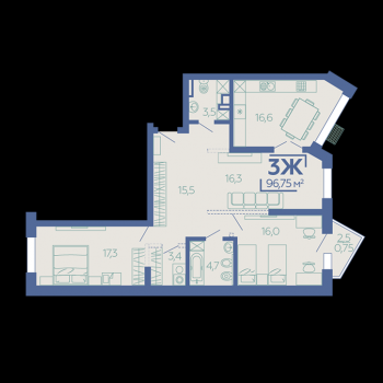 ЖК Z House (Казань) – планировка №7
