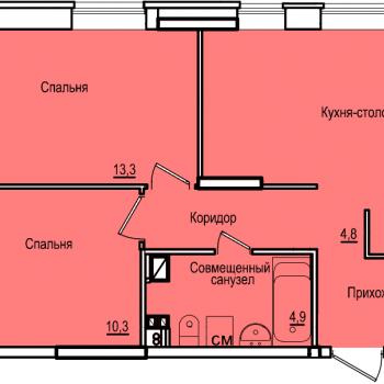 ЖК Комос на Губкина (Казань) – планировка №2
