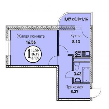 ЖК Цветы (Краснодар) – планировка №14