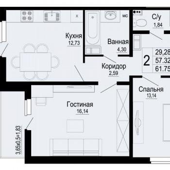 ЖК Мирный город (Краснодар) – планировка №8