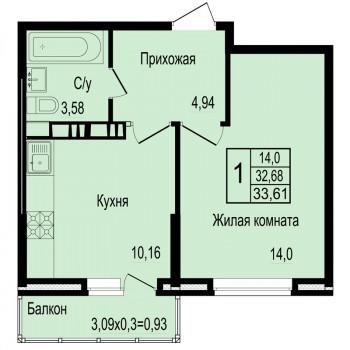 ЖК Мирный город (Краснодар) – планировка №6