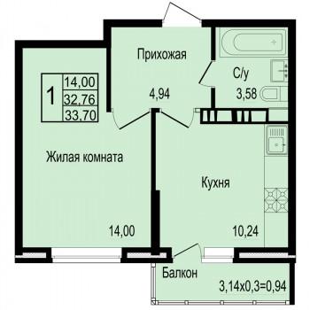 ЖК Мирный город (Краснодар) – планировка №5