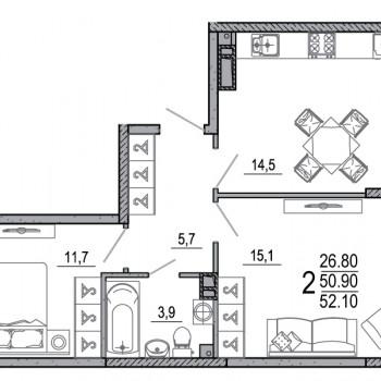 ЖК Южане (Краснодар) – планировка №16