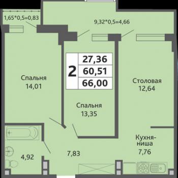 ЖК Мозаика (Краснодар) – планировка №14