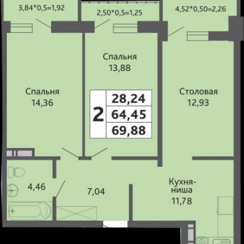 ЖК Мозаика (Краснодар) – планировка №13