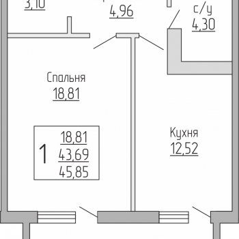 ЖК Резиденция (Краснодар) – планировка №4