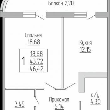 ЖК Резиденция (Краснодар) – планировка №1
