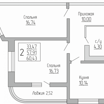 ЖК Резиденция (Краснодар) – планировка №9