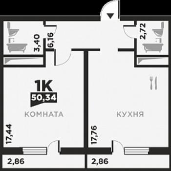 ЖК по ул. Красных Партизан 2 (Краснодар) – планировка №8