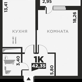 ЖК по ул. Красных Партизан 2 (Краснодар) – планировка №7