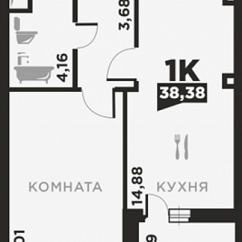 ЖК по ул. Красных Партизан 2 (Краснодар) – планировка №5