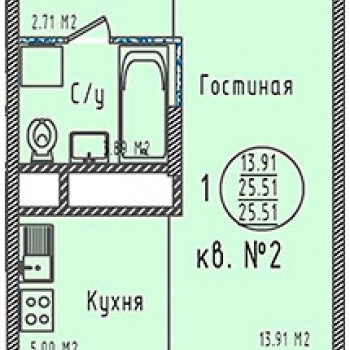 ЖК Зеленодар (Краснодар) – планировка №5