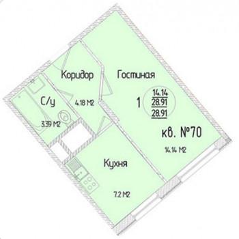 ЖК Зеленодар (Краснодар) – планировка №3