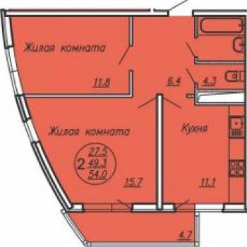 ЖК Маршал (Краснодар) – планировка №3