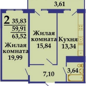 ЖК Фамилия (Краснодар) – планировка №3