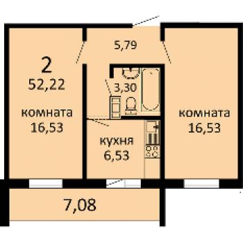 ЖК Семейный (Курган) – планировка №3