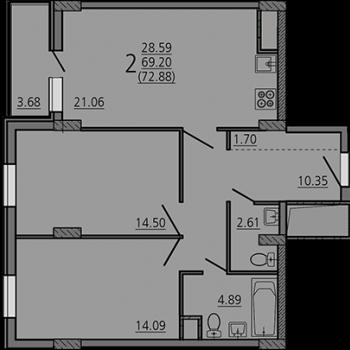 ЖК Карамель (Липецк) – планировка №6