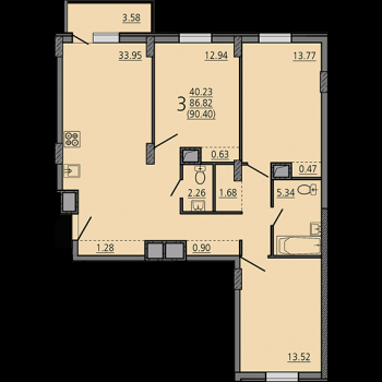 ЖК Карамель (Липецк) – планировка №12