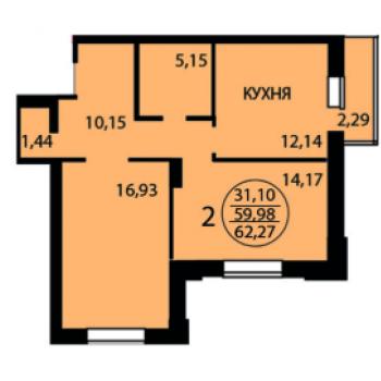 ЖК Андер сан (Липецк) – планировка №6