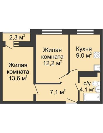 ЖК ЮГ (Нижний Новгород) – планировка №3
